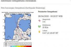 Gempa bumi magnitudo 3.1 getarkan Kabupaten Donggala
