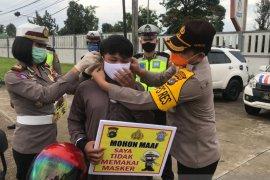 Polres Bangka bagikan 150 lembar masker