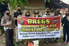 DREG'S Poldasu dan Polresta Medan berbagi sembako ke warga kurang mampu