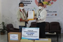 BTN Jambi bantu APD dan hand sanitizer melalui Satgas BUMN Jambi
