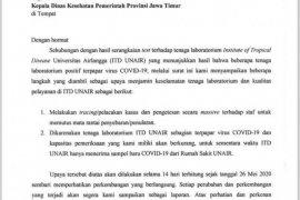 Surat terkait tenaga laboratorium ITD terpapar COVID-19 diakui Unair