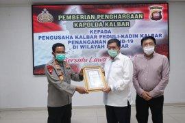 Kapolda Kalbar berikan penghargaan kepada perusahaan peduli COVID-19