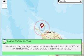 Gempa bumi kembali guncang Sabang, magnitudo 3,9