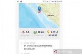BMKG: Gempa M 5,4 di Barat Daya Mukomuko tidak berpotensi tsunami