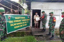 Menyambut HUT Kodam I BB, Kodim 0204-DS bagi-bagi Sembako