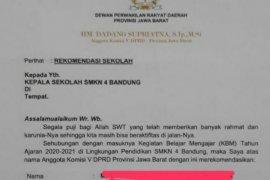 Beredar surat rekomendasi dari anggota dewan agar siswa diterima di SMKN 4 Bandung