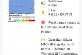Gempa magnitudo 5,0 guncang kawasan Pacitan