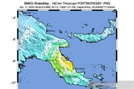 Gempa magnitudo 7,3 di Papua Nugini tidak berdampak ke wilayah Indonesia