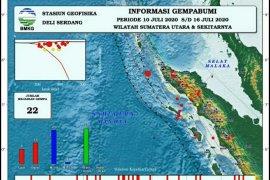 BMKG Deliserdang catat 22 kali gempa dalam sepekan