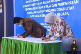 Erick - Menaker teken MoU penempatan pekerja disabilitas di  BUMN