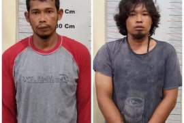 Satreskrim Polres Langkat tangkap dua pelaku pencuri dinamo waduk Sei Wampu