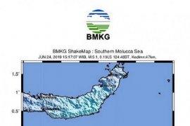 Gempa bumi bermagnitudo 5 getarkan Bolaang Uki Sulawesi Utara