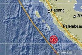 Tujuh kali gempa susulan terjadi pascagempa bermagnitudo 6,9 di Bengkulu