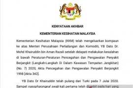 Menteri Perladangan Malaysia didenda Rp3,5 juta, langgar karantina