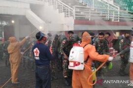 PMI ikut sambut Yonif 509 Raider di JSG datang, cek suhu tubuh dan disemprot disinfektan