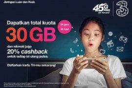 3 berikan kuota 30GB dukung pembelajaran jarak jauh, untuk siswa, guru, mahasiswa dan dosen