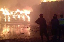 Gudang penyimpanan karton Tjiwi Kimia terbakar