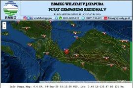 Nabire-Papua rasakan  gempa dengan magnitudo 4,4