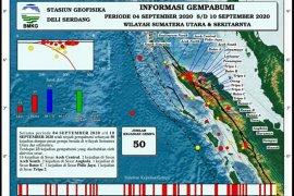 50 getaran gempa terjadi di Sumatera Utara pekan kedua September 2020