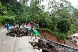 Padang-Medan terganggu jalan terban di Palupuh