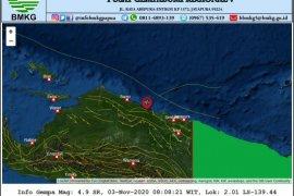 Gempa tektonik magnitudo 4,9 landa Sarmi-Jayapura