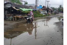 Genangan air di Jalan Pasar Teluk Melano ganggu aktivitas perekonomian