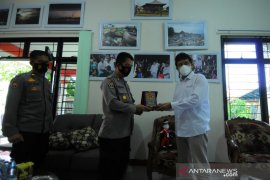 Humas Polda Lampung kunjungan ke kantor Perum LKBN ANTARA Biro Lampung