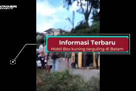 Info terkini: mobil box kuning terguling di Batam