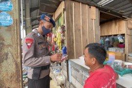 Kompi 1 C Pelopor Brimobda Lampung imbau masyarakat Lampung Utara patuhi prokes
