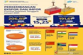 Nilai ekspor Sultra Januari 2021 turun 13,08 persen
