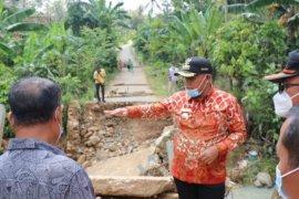 Bupati Lampung Selatan tinjau lokasi jembatan terputus di Desa Mekar Jaya