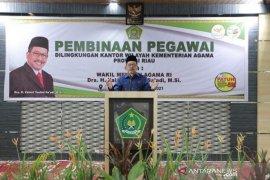 Wamenag RI minta ASN Kemenag Riau jadikan nilai-nilai agama dalam kehidupan berbangsa