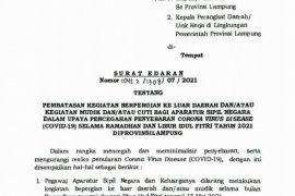 Pemprov Lampung terbitkan edaran larangan mudik bagi ASN