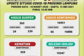 Kasus positif COVID-19 Lampung bertambah 65 orang