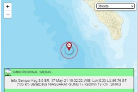 Gempa magnitudo 5,1 di Nias Barat tidak berpotensi tsunami