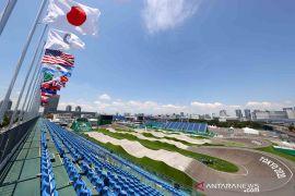 Suasana lokasi pertandingan balap sepeda BMX Olimpiade Tokyo 2020
