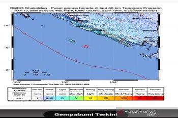 Senin pagi, gempa magnitudo 5,0 guncang Enggano Bengkulu Utara