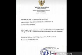 Hoaks, surat Gubernur DKI Jakarta tentang penghentian hubungan suami-istri terkait COVID-19