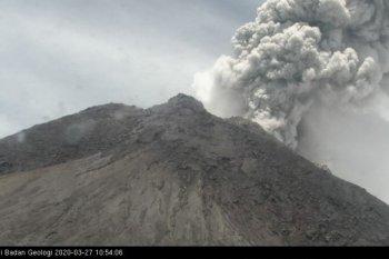 Gunung Merapi meletus ,, BPPTKG  catat  tinggi kolom asap 5.000 meter