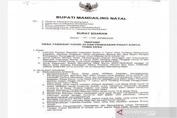Bupati Madina terbitkan surat edaran Desa Tanggap COVID-19