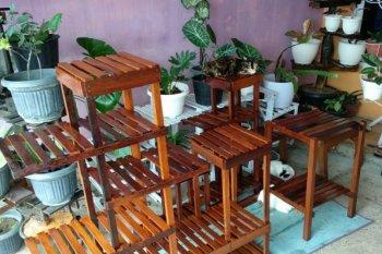 Manfaatkan sisa kayu mahasiswa Unja rintis usaha rak bunga