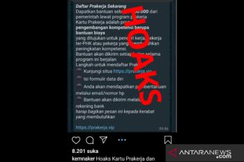 Hoaks, Menaker imbau korban penipuan situs prakerja.vip lapor polisi