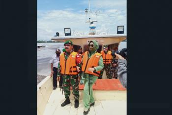 Danrem cek langsung lokasi kegiatan TMMD Kodim 1015 /Spt di Pulau Hanaut