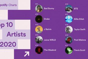 10 besar penyanyi terpopuler dunia dan K-pop menurut Spotify