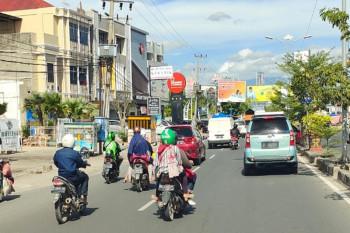 Suasana Jl Antasari Bandarlampung pada hari pertama PPKM Darurat