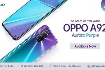 OPPO A92 hadir dengan varian warna Aurora Purple