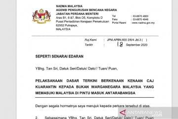 Malaysia mulai terapkan pungut biaya karantina WNA Rp16 juta