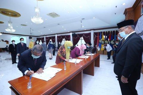 Pelantikan dan Serah Terima Jabatan di Universitas Pancasila terapkan protokol kesehatan