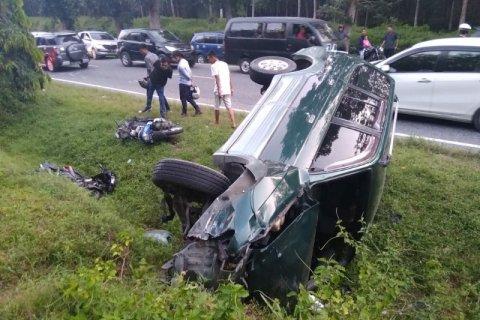 Tiga kendaraan tabrakan di lintas Simalungun - Medan, satu tewas