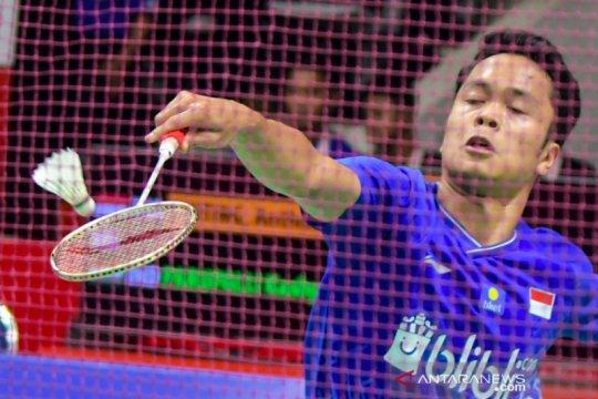 Aksi Jonatan Christie dan Anthony Ginting pada babak pertama Indonesia Masters